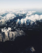 aerial view over mountain ridges