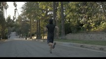 man running in a neighborhood