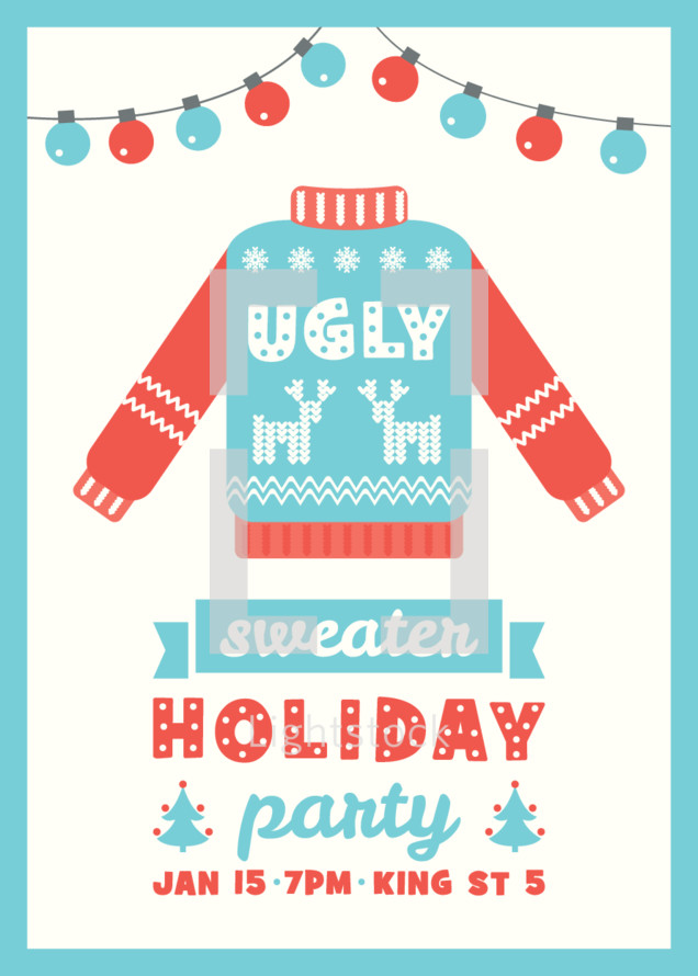 Ugly Sweater Holiday Party Invitation Template