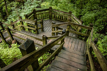 wooden steps in a forest park