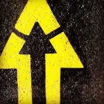 Yellow arrow in cement