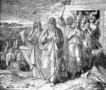 Noah's family leaving the Ark, Genesis 8: 18-19