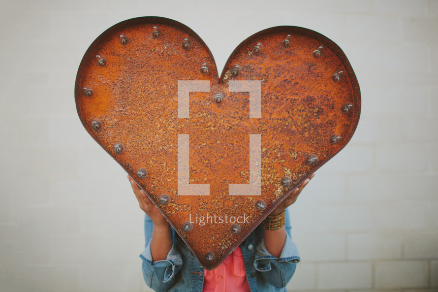 red metal heart