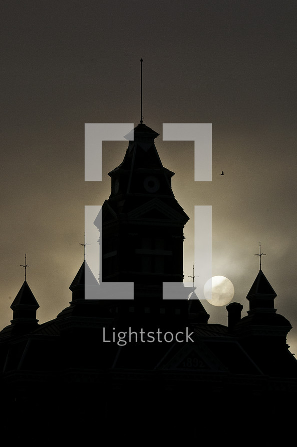 silhouette of a steeple
