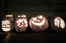 Carved jack o lantern pumpkins