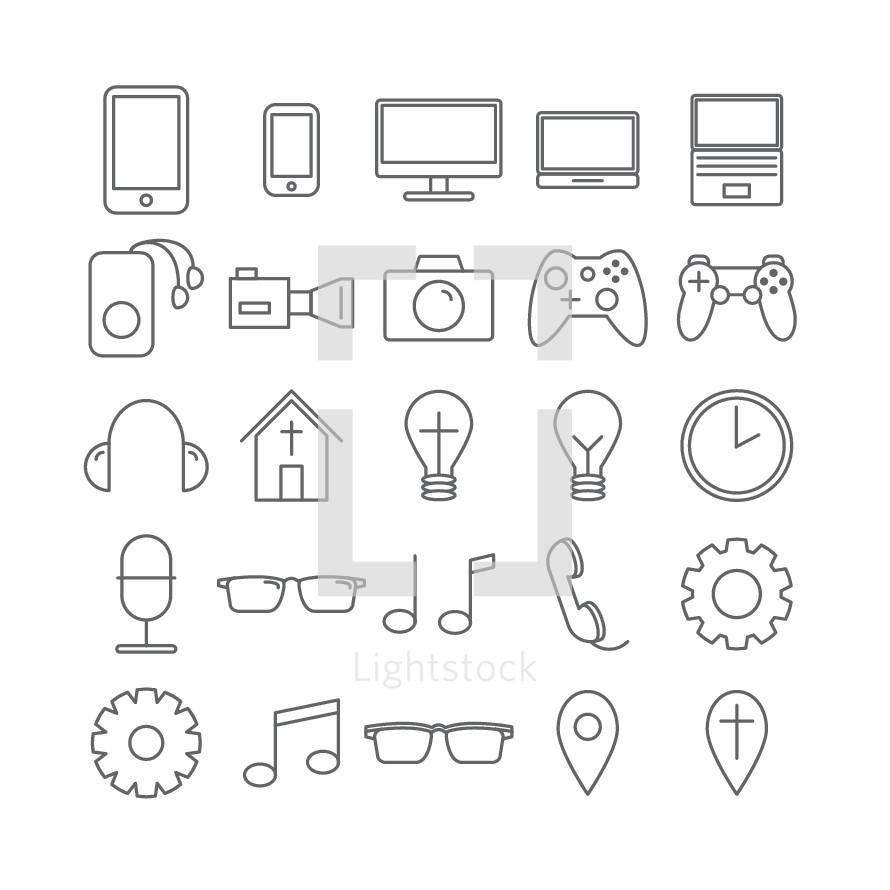 simple lines, gears, music notes, glasses, reading glasses, pin point, cross, phone, microphone, church, headphones, icons, lightbulbs, clock, camera, iPad, iPhone, computer screen, video game controller, nintendo ds, nintendo, xbox, video camera, electronics, iPod, earbuds