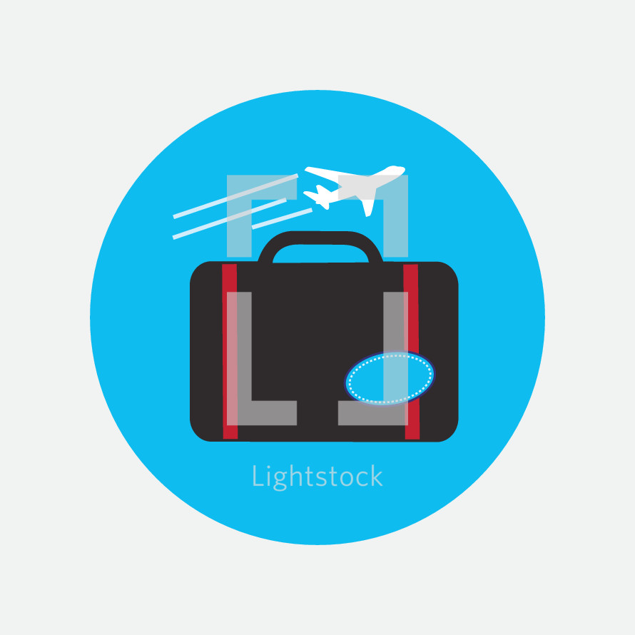 airplane and luggage travel icon