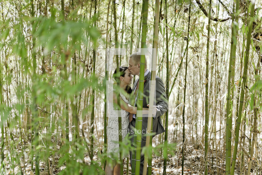 A groom kisses his bride on the forehead behind some bamboo trees
