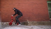 a man riding a stunt bike