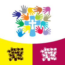 hand prints and cross logo