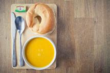 Carrot & Corriander Soup & Bagel