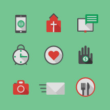 Church and missions icon set.