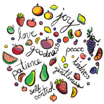fruit of the Spirit, vector, handlettered, fruits, gentleness, words, text, hand drawn lettering, illustration, kindness, patience, goodness, peace, grapes, strawberry, self-control, virtues, lemon slice, lemon, apple, watermelon, joy, love, orange