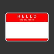 Hello My name is rounded rectangular badge. Red blank name tag sticker HELLO My Name Is isolated on gray background. The design graphic element is saved as a vector illustration in the EPS file format.