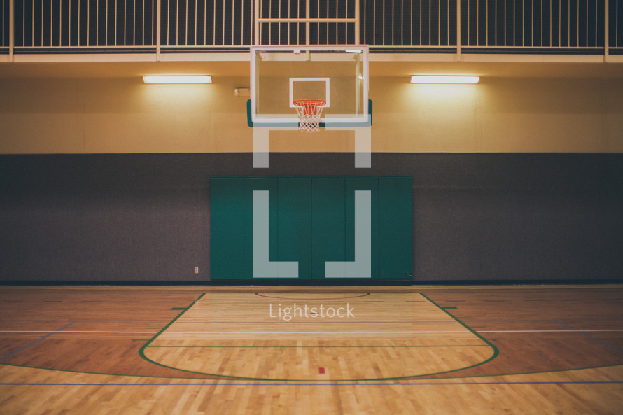 basketball in a gymnasium