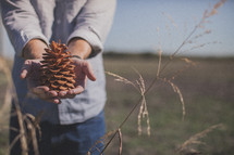 man holding a pine cone
