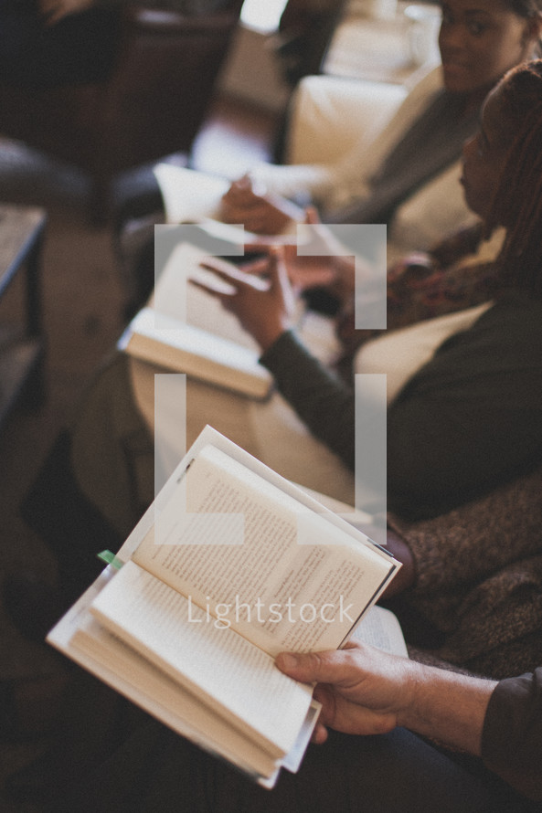group discussion at a Bible study