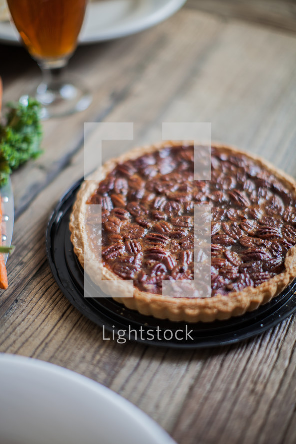 Pecan pie at the Thanksgiving meal.