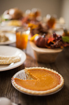 Pumpkin pie at the Thanksgiving meal.