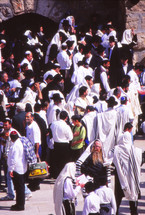 People gathered in Jerusalem at the Wailing Wall