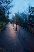 path at night in a park in Edinburgh