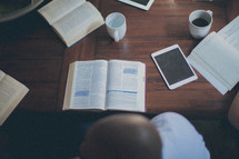 small group Bible study table