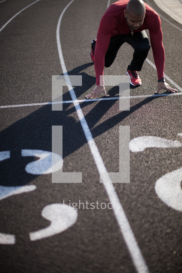 a runner at the starting line