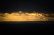 dark sky and horizon at sunset