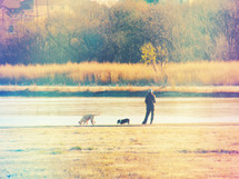 woman with her dogs by a lake