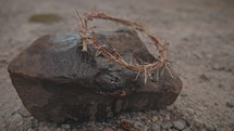 blood on a rock and the crown of thorns