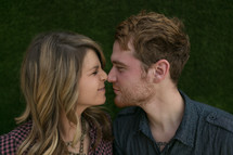 Happy couple rubbing noses