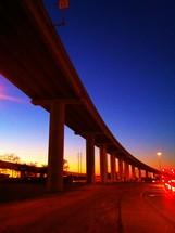Freeway bridge at night