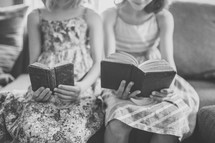 girls reading old books
