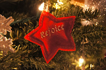 Rejoice star Christmas ornament