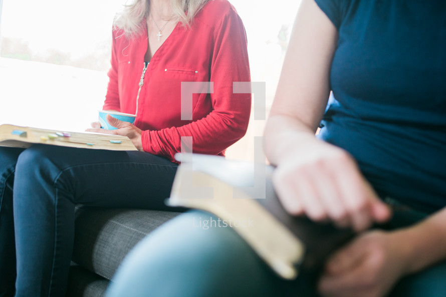 women at a Bible study sitting on a couch