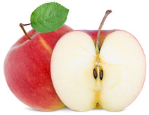 full apple and  cut slice isolated on white background