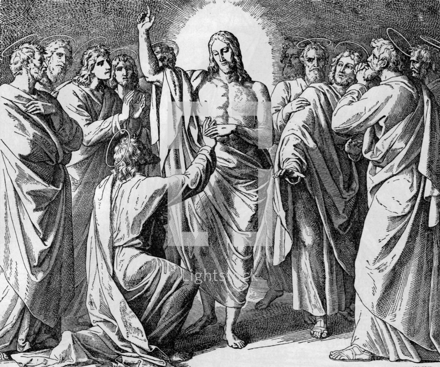 Jesus appears to the disciples and doubting Thomas,  John 20: 24-29