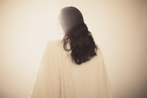 The back of a clothed Christ in a ray of light.
