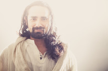Jesus with a peaceful smile.