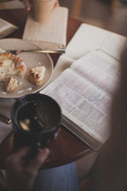 coffee and breakfast and an open Bible