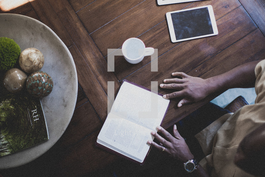 man sitting at a table at a Bible study