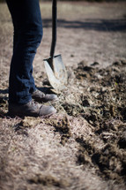 A man in jeans and boots digs with a shovel in the dirt.