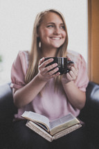 woman drinking coffee at a Bible study
