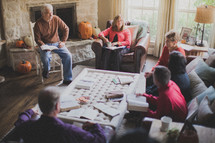 Family Bible study after the Thanksgiving meal.