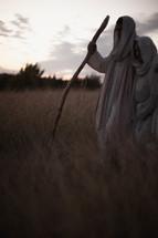 Joseph and Mary walking towards Bethlehem