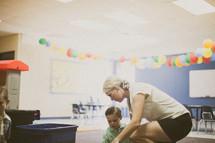 nursery staff and children