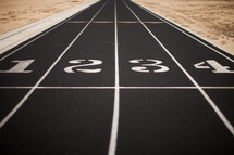 starting line and lanes on a track