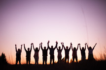 raised hands, praise, silhouettes, group, people, row, standing, field, outdoors