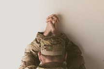 soldier in prayer