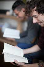 men reading at a Bible study